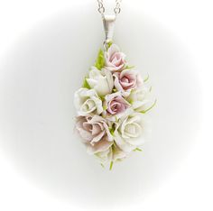 Pendant with flowers from polymer clay, wedding pendant, shades of white and pink flowers, roses, fl White And Pink Roses, Small White Flowers, Pink Flowers, Polymer Clay Flowers, Polymer Clay Jewelry, Polymer Beads, White Necklace, Flower Necklace, Biscuit