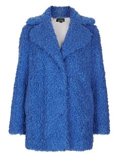 "The ""it"" coat this winter happens to be the coziest, comfiest thing you'll ever put on. So if you're going to add to your coat collection, make it a teddy bear coat. These shaggy jackets couldn't be cuter, but we especially love them in bold shades like bright blue! Teddy Fur Pea Coat, $158, Topshop   - Seventeen.com"