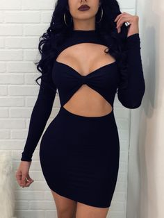 Seductive Cutout Long Sleeve Mini Dress