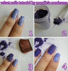"""kasnailsandsuch: """" How To Do Velvet Nails """" Start out by painting your nails with your favorite base color (over a base coat, of course). In this manicure, I used Sweet Color from BPS. Great Nails, Fun Nails, Velvet Nails, Diy Crafts How To Make, Sweater Nails, Nail Decorations, Cool Nail Designs, Nail Tutorials, Hair Bows"""