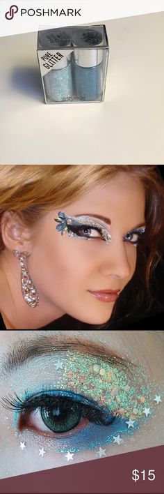 """Hard Candy """"Poppin' Pigments"""" Pure Glitter Spice up your makeup game for a festive occasion! This duo is called """"Deep Blue Sea"""". NB: Makeup example photos are from Pinterest and not necessarily done using Hard Candy glitter. Hard Candy Makeup Eyeshadow"""