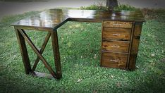 L Shaped Double X Desk - Handmade Haven