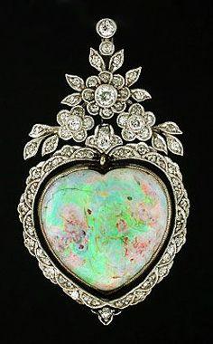 Art Nouveau 18kt Diamond & Opal Heart Pendant