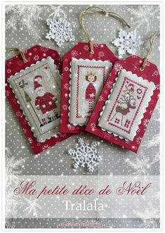 Love the borders and finishes on these Xmas Cross Stitch, Cross Stitch Christmas Ornaments, Just Cross Stitch, Cross Stitch Finishing, Cross Stitch Cards, Xmas Ornaments, Christmas Cross, Counted Cross Stitch Patterns, Cross Stitch Designs
