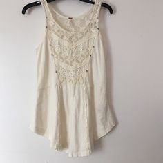 PRICE DROPNWOT FREE PEOPLE crotchet tank top Crotchet tank top. New without tags, never worn. Size small. Make an offer No trades  Free People Tops Tank Tops