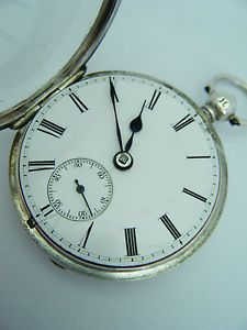 1847 FOSTER LONDON ANTIQUE EARLY VICTORIAN ENGLISH SILVER FUSEE POCKET WATCH