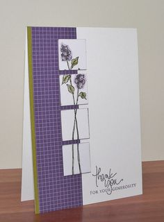 stampin up long stemmed handmade card . tall and narrow panel cut into inchies and glued on slightly apart . adds interest to the long-stemmed flowers . clean lines . deep purple backing panel and flowers . Card Making Inspiration, Card Sketches, Sympathy Cards, Paper Cards, Flower Cards, Cool Cards, Creative Cards, Greeting Cards Handmade, Scrapbook Cards
