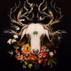 "Artist: Martin Wittfooth ""Shaman II""  Oil on Canvas 35"" x 31"" 2014"