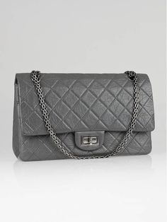 e6019e62f0d6 Chanel Grey 2.55 Reissue Quilted Classic 227 Jumbo Flap Bag @ yoogi's  closet.