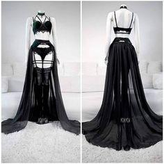 """Emerald Velvet Lingerie by Askasu""""ok so um, Draw your OC in this? Gothic Lingerie, Lingerie Outfits, Lingerie Dress, Pretty Lingerie, Women Lingerie, Edgy Outfits, Pretty Outfits, Fashion Outfits, Fantasy Dress"""