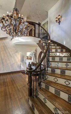 16674 Via Lago Azul , California by Scott Appleby and Kerry Appleby Payne Tiled Staircase, Grand Staircase, Custom Fireplace Screens, Mexican Interior Design, Tile Steps, Tudor Style Homes, Mediterranean Homes, Stairway To Heaven, Stone Houses