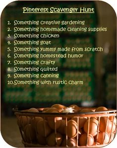Pinterest Scavenger Hunt Contest. Winner gets an Amazon 25 dollar gift certificate. Deadline is March 9, 2012. (extremely creative)