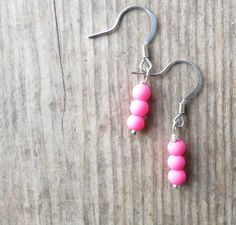 Matte Neon Pink Drop Earrings | Minimalist Jewerly | Gifts under 10 | Dainty Earrings | Drop Earrings | Gifts for Her | Festival Fashion by MagnificentMouse on Etsy