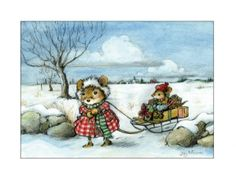 MOUSE SLED — Wee Forest Folk note cards. Artwork by Willy Petersen. Inside: May your days be merry and bright! Single cards $2.50, packs of 12 $24. | Via Collectors Haven