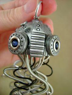 Dark Aquatic Mechanical Jellyfish - Large  - Steampunk Industrial Polymer Clay - Pendant / Necklace. $69.00, via Etsy.