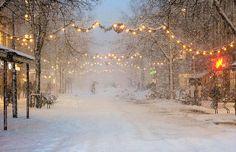 Norway, Trondheim, snowfall