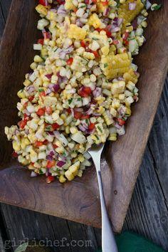 Grilled Corn Salad w/ Honey-Lime Dressing {#SundaySupper: Labor Day}   www.girlichef.com