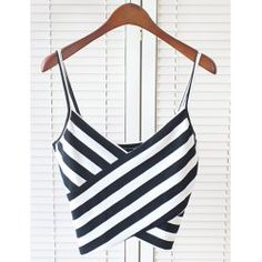 Sexy Spaghetti Strap Sleeveless Striped Low Cut Women's Crop Top | TwinkleDeals.com