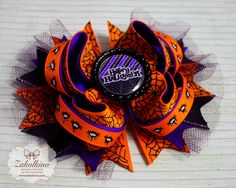 Halloween Bows - Halloween Tulle Hair Bow - Boutique Hair bow - Stacked Bow - orange purple bow - Halloween party - spider hair bow halloween bow spider hair bow halloween orange purple bow Halloween outfit Halloween party boutique bow spider bows halloween dress halloween style orange black purple Stacked Bow 6.00 USD #goriani