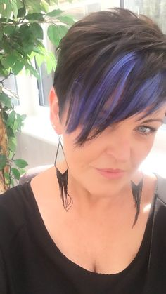 Dark pixie with blue highlights