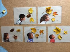 The cutest fall craft! To add to this, you can make a frame around the picture with twigs the children collect and then attach some string so it can hang