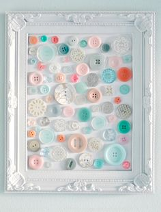 #uTAKE your button stash, an old frame, glue.... then #uMAKE an arty wall hanging or two