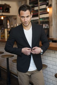Navy blazer, white tee, and khakis. T-Shirt by James Perse; Blazer by Theory; Khakis by Filippa K Brown
