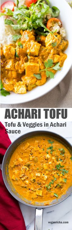 Tofu Achari Paneer - Tofu & Veggies in Achari Sauce made with tomatoes, onions and Indian Pickling spices. Add chickpeas or more vegetables to make soy-free. #Vegan #Glutenfree #Recipe #Nutfree option #veganricha | VeganRicha.com