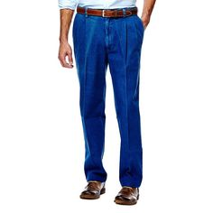 Men's Haggar® Work to Weekend® Classic-Fit Pleated Denim Pants, Size: 44X30, Blue