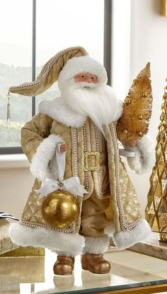 Shop Glimmer & Gold Santa Figure, at Horchow, where you'll find new lower shipping on hundreds of home furnishings and gifts. Elf Christmas Decorations, Gold Christmas Ornaments, Tabletop Christmas Tree, Santa Christmas, Christmas Colors, White Christmas, Vintage Christmas, Christmas Stockings, Christmas Crafts
