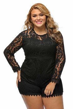 Roswear Women's Plus Size Round Neck Long Sleeve Lace Romper Dress Black XXX-Large