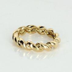 Braided Twist Stacking Band Ring Vintage 18 Karat Yellow Gold Sz 7.5 Estate Jewelry