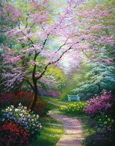 Painted by Charles White, the Spring Blossoms wallpaper mural features a winding path through a beautiful garden. Beautiful blossoms in pink, green, red, and yellow will add a calming element to any space. Free US shipping. Spring Landscape, Landscape Art, Landscape Paintings, Oil Paintings, Scenery Paintings, Landscape Design, Beautiful Paintings, Beautiful Landscapes, Beautiful Gardens