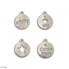 Surtido de medallas perforadas - Plateado - Metal - 16 mm - 4 uds - Fotografía n°2