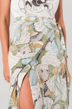 Yellow and Green Floral Print Maxi Wrap Skirt – Wynter Bloom