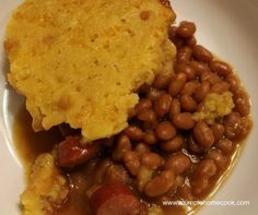 Crock Pot Hot Dog Baked Beans and Cornbread Casserole recipe