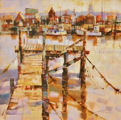 Ropes, Jetty and Fishermen's Huts, Southwold by British Contemporary Artist Chris FORSEY Watercolor Canvas, Watercolor Artists, Watercolor Landscape, Landscape Art, Landscape Paintings, Landscapes, Modern Artists, Contemporary Artists, Contemporary Landscape