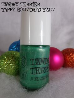 """@Tawdry Terrier """"Yappy Hollydays Y'all"""" - now available at https://www.etsy.com/shop/TawdryTerrier. #nailpolish #indienailpolish #tawdryterrier #christmas"""