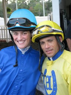 Jockey Jose Ferrer and Jockey Shannon Uske pose for a quick picture in the Paddock.  (December 2013)  #sports, #horses, #jockey, #athletes, #racetrack #tampabaydowns #friends #horseracing