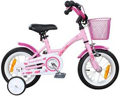 c226311f852 PROMETHEUS Kids bike 12 inch Girls in pink purple   white with stabilisers