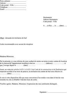 modele lettre resiliation bail demande reduction preavis