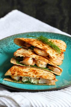 Lemon Dill Shrimp Quesadillas - Shrimp seared with garlic and brightened with lemon and dill are tucked into a crispy quesadilla, along with spinach and feta cheese. Shrimp Quesadilla, Quesadilla Recipes, Quesadillas, Shrimp Recipes For Dinner, Seafood Recipes, Mexican Food Recipes, Ethnic Recipes, Healthy Cooking, Cooking Recipes