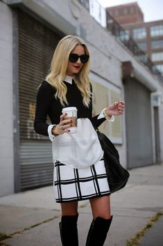 Winter Outfit Idea - cropped black sweater over a sheer blouse worn with a plaid black and white mini skirt + knee high boots