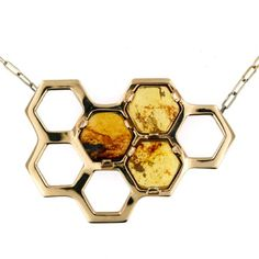 Diamond Jewelry Inspired by my fascination with bees and my love for amber, HONEY is a bronze honeycomb pendant with three prong set Chiapas amber hexagons. The richly colored - Diamond Jewelry, Silver Jewelry, Jewelry Necklaces, Gold Bracelets, Gold Jewellery, Diamond Earrings, Jewlery, Glass Jewelry, Silver Earrings