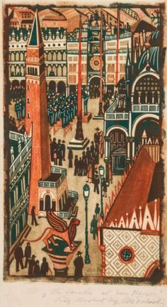 The Band at St. Marks Square, linocut in color // by Lill Tschudi Art And Illustration, Illustrations And Posters, Linocut Prints, Art Prints, Building Art, Woodblock Print, Art Pictures, Printmaking, Illustrators