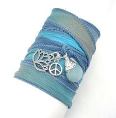 Silk Wrap Bracelet with Lotus Flower, Peace Sign, and Amazonite, yoga jewelry,wrapped, wrapping, wrap around,wrist wrap