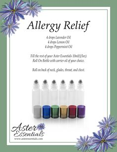 Roll On Bottles, Allergy Relief, Lemon Oil, Peppermint Oil, Carrier Oils, Lavender Oil, Essential Oils, Essentials, How To Apply