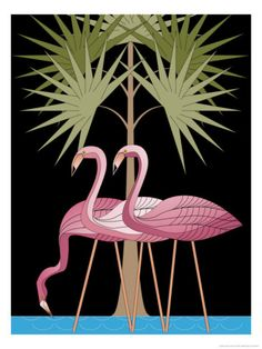 Three pink flamingos poster #FlamingoArtPaintingPicturePoster