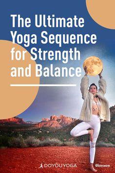The Ultimate Yoga Sequence for Strength and Balance #yoga #fitness #health Free Yoga Videos, Surya Namaskar, Corpse Pose, Chair Pose, Mountain Pose, Lotus Pose, Dog Poses, Yoga Tips, Yoga Benefits