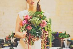 Bouquet with artichoke and succulents. Quirky Wedding Dress, Different Wedding Dresses, Alternative Wedding Dresses, Alternative Bride, Wedding Bouquets, Wedding Flowers, Pink Bouquet, Boquet, Wedding Night